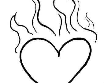 Flaming Heart sketch Red Rubber Stamp-Original design 01414, heart rubber stamp, valentines rubber stamp, love rubber stamp
