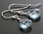 Aqua Blue Quartz Earrings. Sterling Silver Ear Wires. Teardrop Earrings. Blue Gemstone Earrings. f15e031