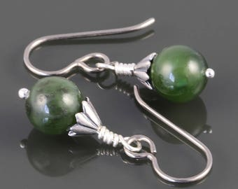 Nephrite Jade Earrings. Titanium Ear Wires. Genuine Jade. s17e068