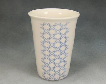 Porcelain Tumbler or Vase in Blue and White Hand Thrown Ceramic Tumbler Pottery Vase 1