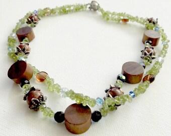 Natural Boho Peridot and Wood Beaded Necklace