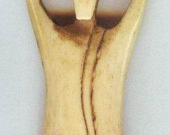 Tea Dyed Goddess Bone Pendant 66x18mm