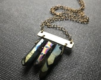 Sale - Rainbow Titanium Quartz and Brass Chain Necklace