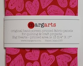 """Screen Printed Fabric Panel - Pink Hearts On Red """"Tomato"""" Kona Cotton"""
