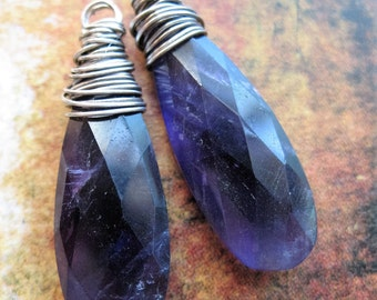 Faceted Amethyst Long Briolettes  in Antiqued Sterling Silver - 1 pair - 32mm