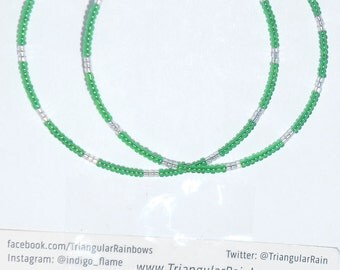 Green & Silver Hoop Earrings with seed beads