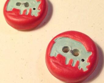 Porcelain Rhino Buttons