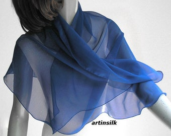 "Sapphire Blue Coverup Cobalt Scarf, Light Navy Sheer Wrap, Small Shoulder Wrap, Pure Silk Chiffon, Small Medium Petite 20x43"", Artinsilk"