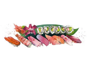 Sushi watercolor art food print in multiple sizes