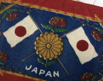vintage cigar felt,collectible felt,Japan,Japanese flag,dollhouse rug,memorialbilia,cigar flannel,cigar premium,japanese collectible,felt