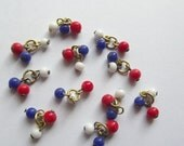 50% OFF Vintage red white blue bead clusters