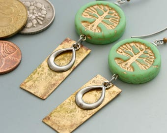 Tree of Life Earrings. Spring green Czech glass beads paired with handmade and vintage charms.
