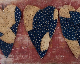 3 Rustic Heart Ornaments, Farmhouse Decor Primitive Hearts Antique Quilt Tattered Hearts Rustic Hearts Navy Blue White Stars - READY TO SHIP