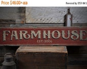 ON SALE Farmhouse Wood Sign, Personalized Established Date Gift, Custom Farmstead Home Decor - Rustic Hand Made Vintage Wooden Sign ENS10017