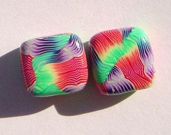 Bold Color Handmade Artisan Polymer Clay Bead Pair
