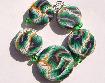 Forest Garden Artisan Polymer Clay Bead Set with Focal and 4 Beads