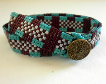 Bead Loomed Wrap Bracelet Brown Turquoise White Casual Chic
