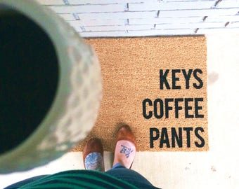In Stock - will ship next day- KEYS COFFEE PANTS. Natural CoCo Coir Fiber Modern Tagged Outdoor Welcome Mat Custom doormat