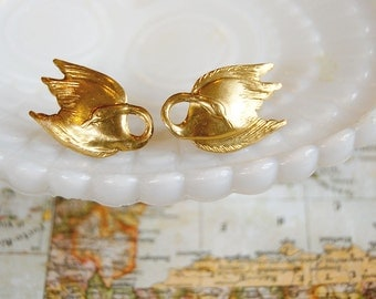 Brass Swan collar brooches - set of two.