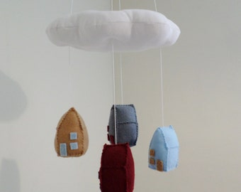 Baby mobile - small houses - gender neutral colours