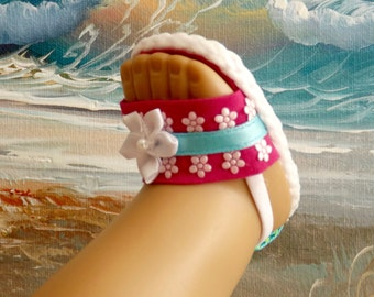 """Doll Sandals Shoes for 18"""" doll and 13-14"""" doll and 14.5"""" doll (You Choose Size) Violet Turquoise Daisy Medley NEW Item"""