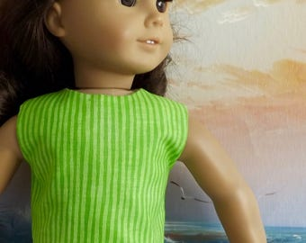 18 inch Doll Clothes Bright Lime Green Stripe Modified Crop Top NEW Style