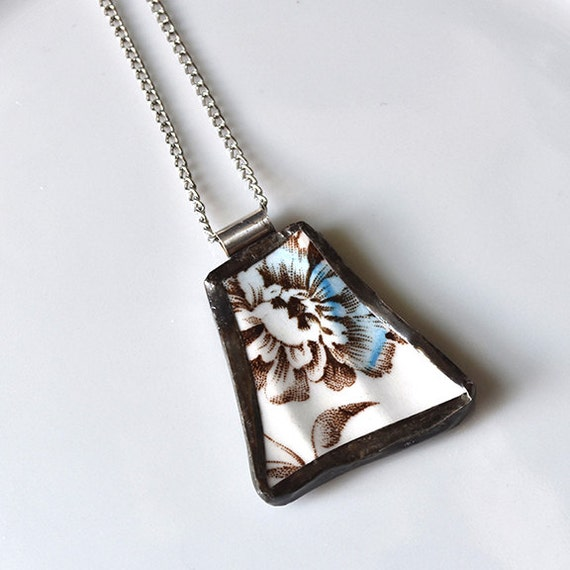 Broken China Jewelry Pendant - Blue and Brown Floral