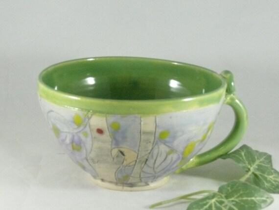 Ceramic soup mug with owl, large latte mug, tea cup, decorative kitchen soup bowl - handmade in Colorado 679