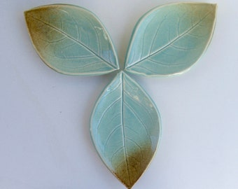 Set of Three, Ceramic Leaf Plates/Spoon Rest, Hand Built, Persimmon Leaf