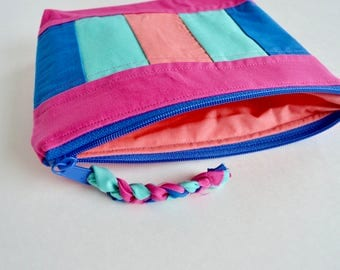 Cosmetic Pouch - Color Block Pouch - Make up Pouch - Pink Blue Pouch - Coral Aqua Pouch - Bridesmaid Gift - Gift for Mom - Pencil Pouch