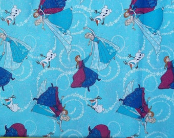 Disney FROZEN Sisters Ice Skating BLUE Silver Glitter Cotton Fabric Springs BTY