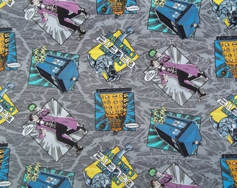 Dr. Who I'm a MADMAN With A BOX Gray Cotton Fabric Springs Creative BBC 43/44 Wide By The Yard