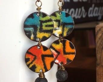 Colorful Tribal Enamel Earrings, Torch Fired Enamel, Bold Tribal Design, Torch Fired Enamel Charm Earrings, Aztec Indian, Folk Art Style