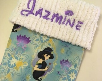 Disney Aladdin Princess Jasmine and Chenille Handmade Christmas Stocking with FREE US SHIPPING