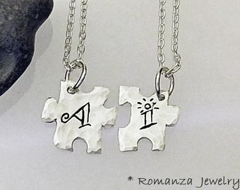 Couples Personalized Letter Puzzle Piece Set Necklace, Friendship Necklace, Wife Husband, Anniversary gift, Forgive me Necklace,