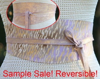 SAMPLE SALE!!! Leather REVERSIBLE pink and gold sparkle - bonus sunset sand print fabric on the reversible side Size Small to Medium