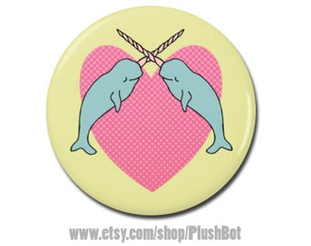 """Narwhal Love 1.25"""" or 2.25"""" Pinback Pin Button Narwhale Heart Whale Unicorn of the Sea Gift Stocking Stuffer"""