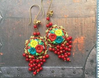 bella granadas - long festive mexican embroidery earrings