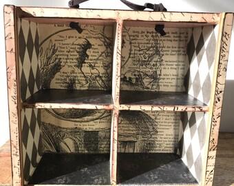OOAK Alice in Wonderland Shelf Display Case with Handle, Wood, Cheshire Cat, Mad Hatter White Rabbit
