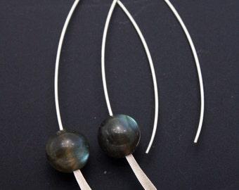 Labradorite Simple 925 Silver Earrings