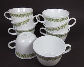 Corelle Spring Blossom Tea Cups Set of 8 White Glass Green Flowers Floral