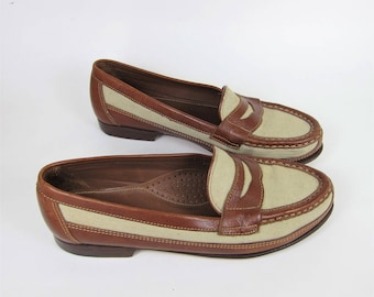 Vintage Bass Weejuns Women's Canvas Penny Loafers Size 6.5 Brown Beige Made in Brazil G H Bass Co Size 6 . 5
