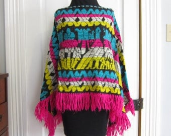 Vintage 70's Poncho Black Colorful Yarn Fringe Cape Bright Woven Pink Blue Yellow Black