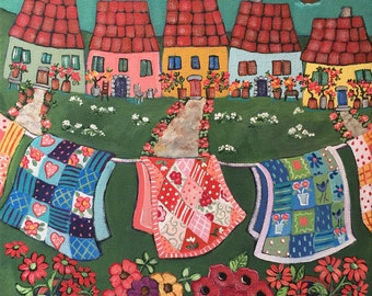 Rosy Roofed Cottages and Quilts