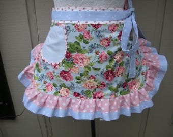 Blue Womens Aprons - Aprons with Pink Roses - Handmade Aprons - Pink Aprons - Shabby Chic Blue Aprons - Annies Attic Aprons -  Bridal Aprons