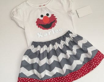 Boutique... ELMO... PERSONALIZED..outfit... Sesame street inspired... grey chevron fabric