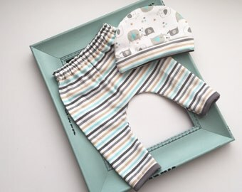 Sale--- ready to ship -Baby boys Knit jersey striped pants with matching elephant print hat set-- newborn boys clothing