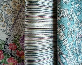 Set of 3 Vintage Silk Kimono Scrap Set, Cherry Blossoms Pattern, Stripe Flowers, Craft Supply, Japanese Textile