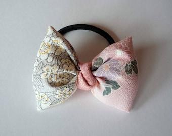 Baby Pink Ponytail Holder, White Hair Tie, Handmade Japanese Silk Gift Idea, Ribbon Shape Elastic