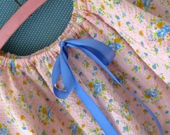 Girls Summer Night Shirt - Vintage Cotton Waffle Fabric - size 2 -3